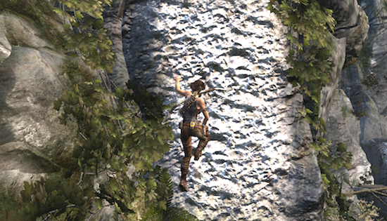 Screenshot einer Klettersequenz aus Tomb Raider (2013)